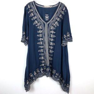 Soft Surroundings Embellished Blue Tunic